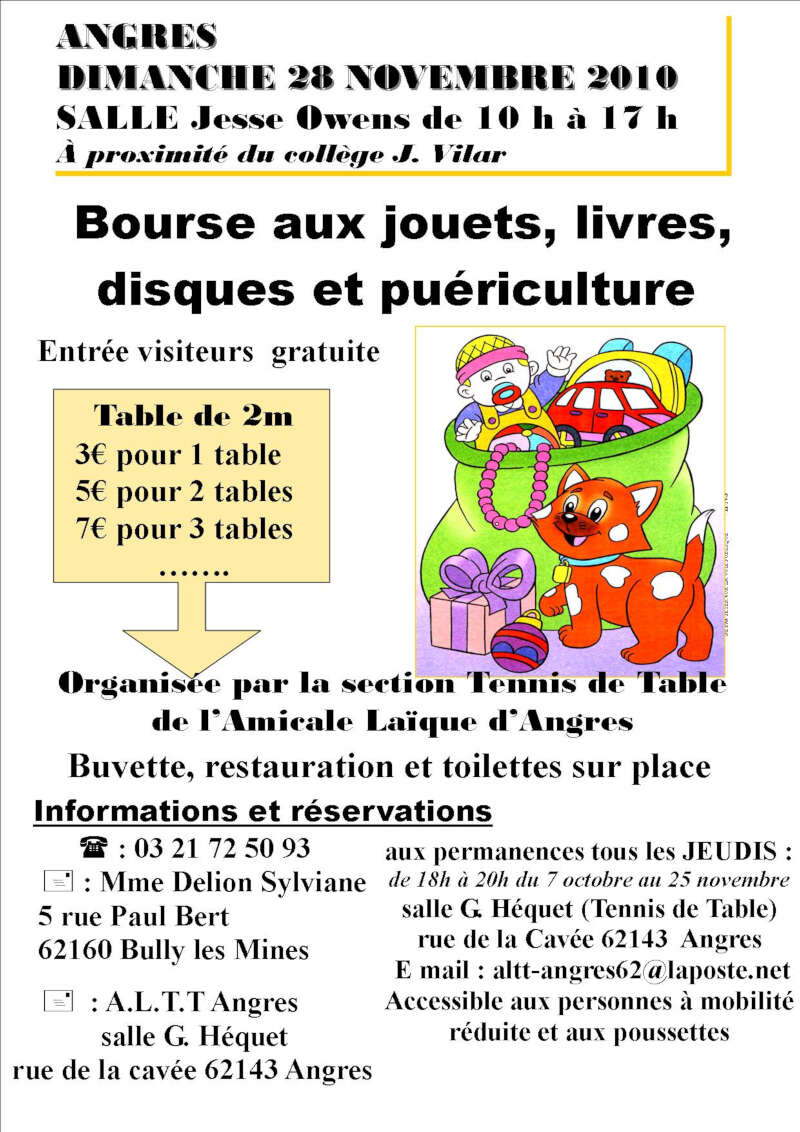 Bourse aux jouets livres disques et pu riculture angres - Ligue du nord pas de calais de tennis de table ...